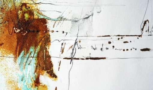 Acrylmalerei mit Rost, Gold und Schrift